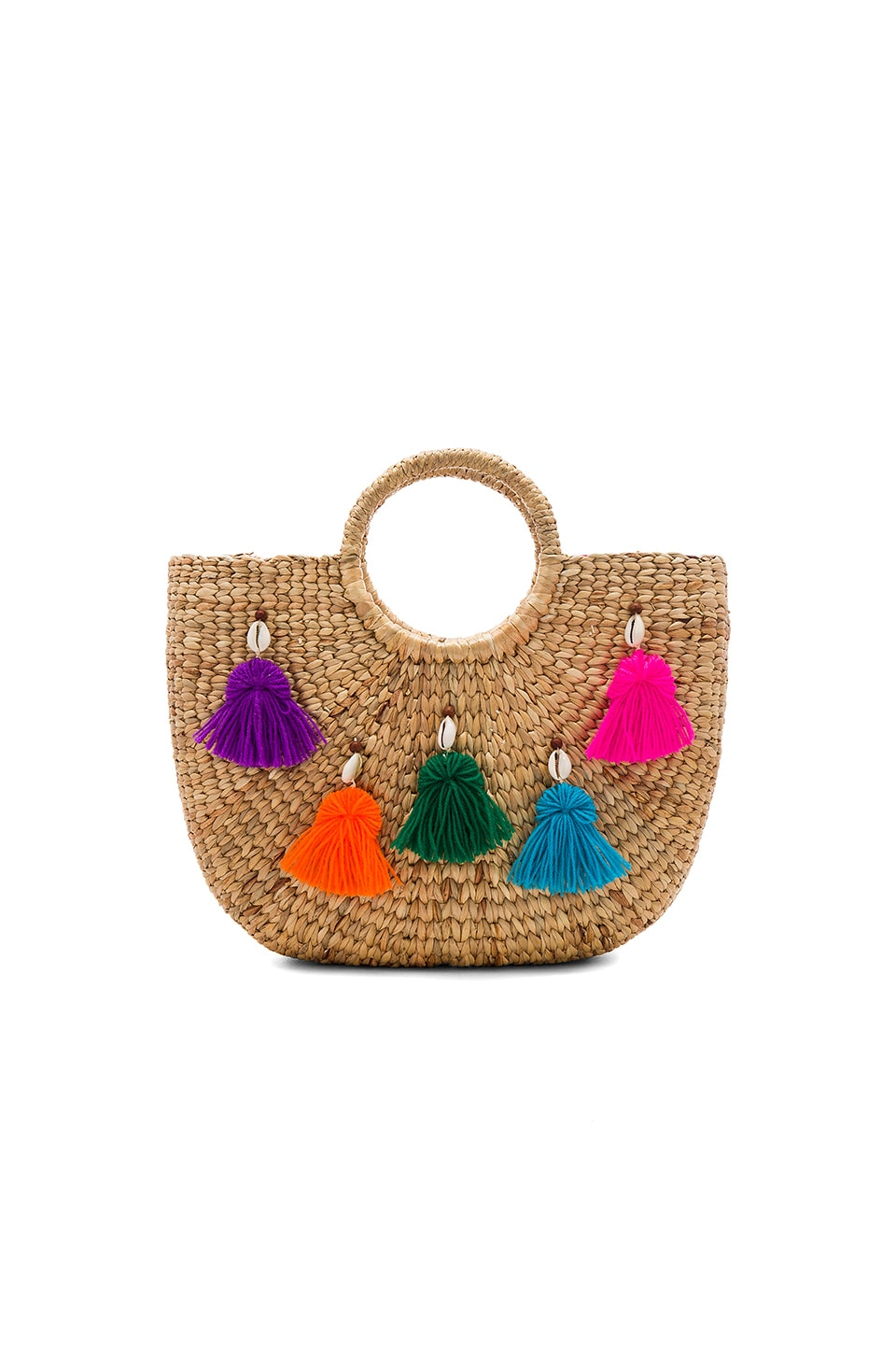 JADEtribe Mini Tassel Small Basket in Multi