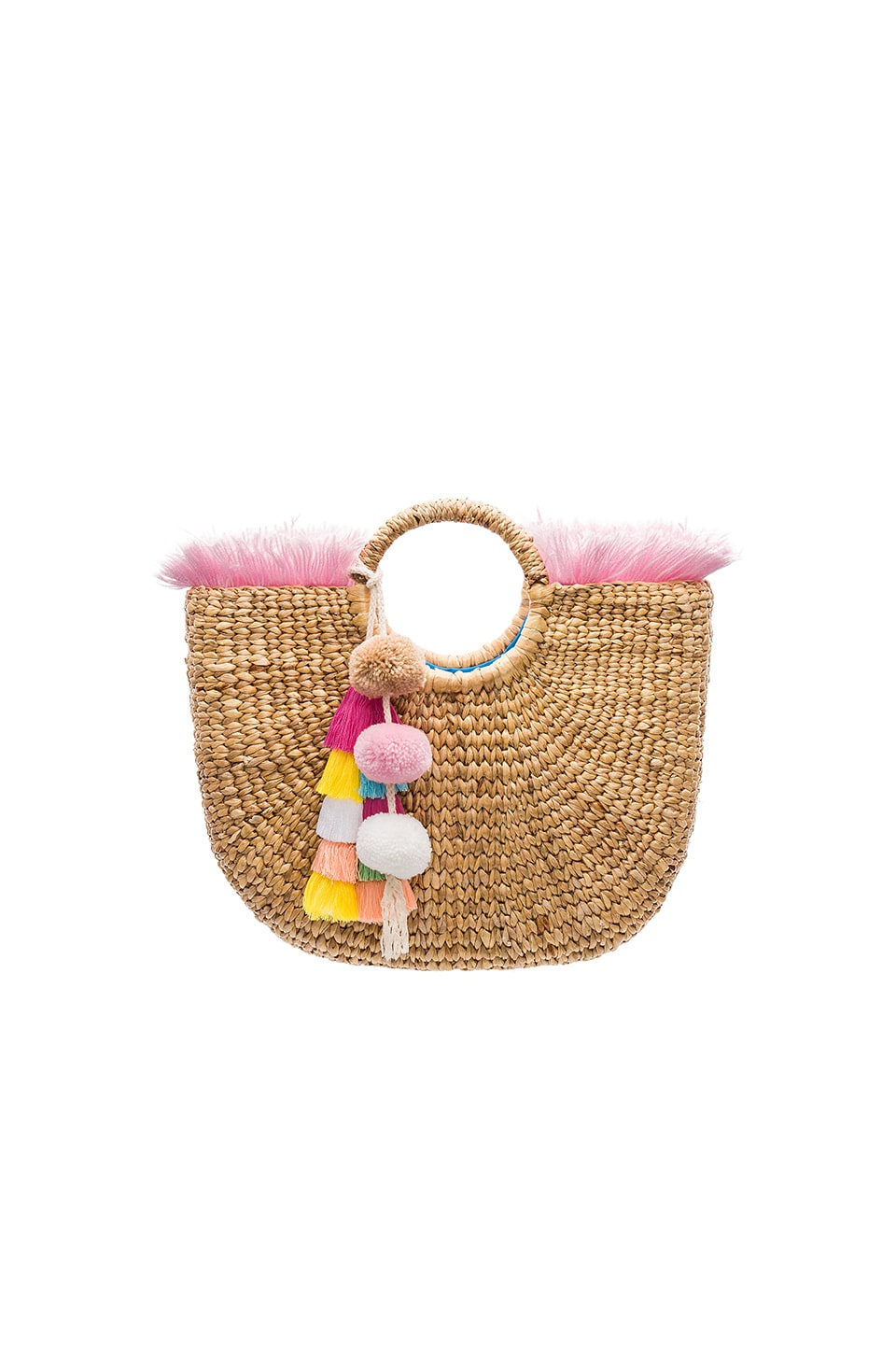 JADEtribe Round Fringe Tote in Blush and Pastel Tassel