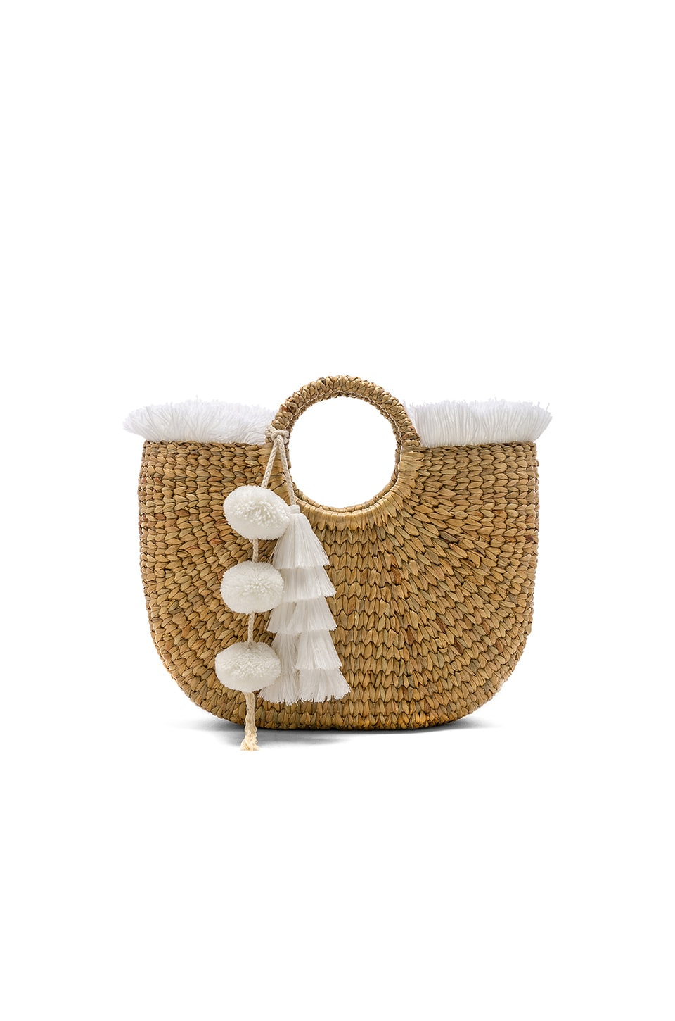 JADEtribe Basket Small Fringe in White & White
