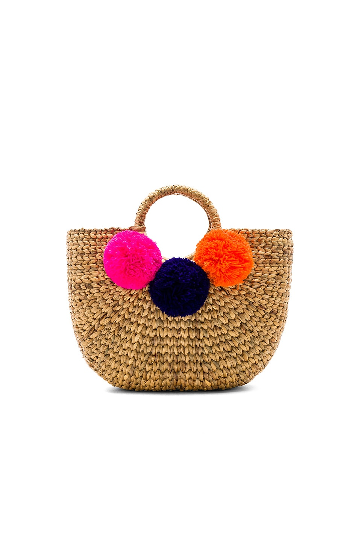 JADEtribe Basket Small 3 Pom in Pink & Elect Blue & Orange