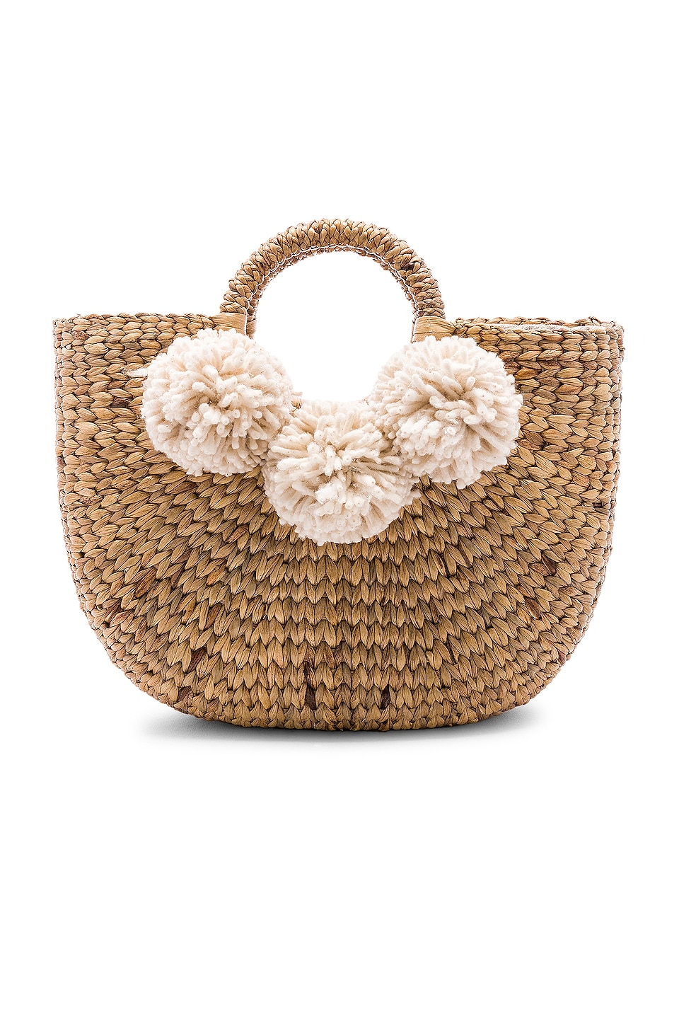 JADEtribe Small Sabai 3 Pom Basket in Sand