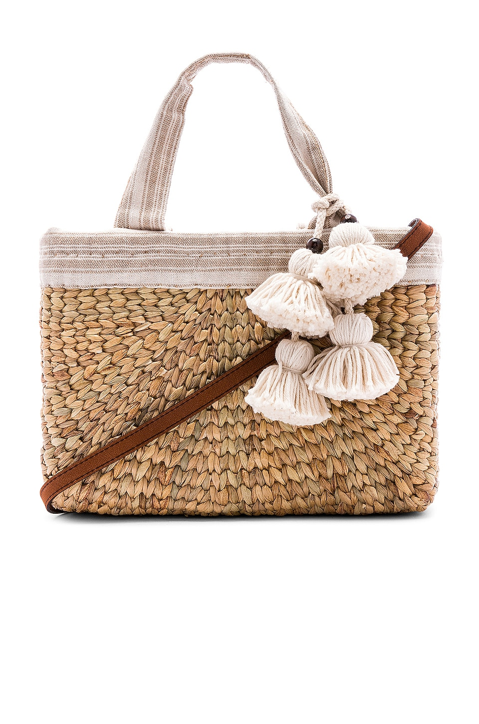 JADEtribe PANIER SABAI MINI SQUARE WITH LEATHER HANDLE