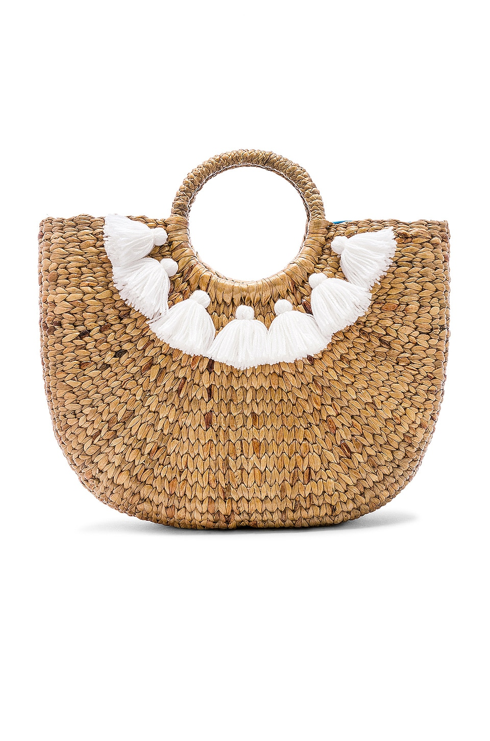 JADEtribe Small 7 Tassel Basket in White