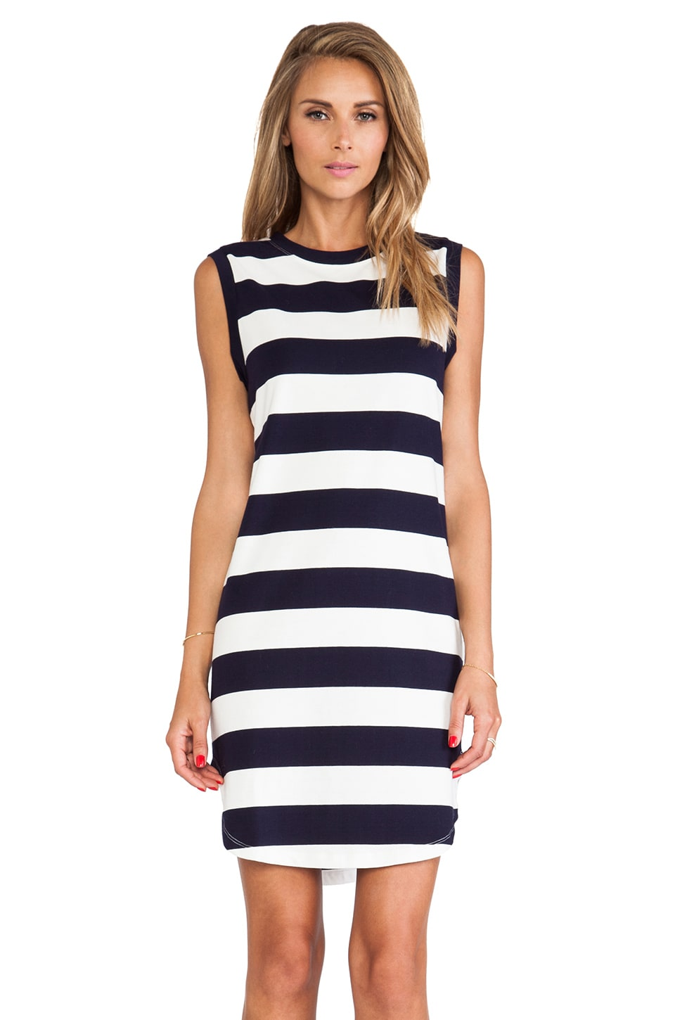 JAGGAR JAGGER Explorer Midi Dress in Navy & White Stripe