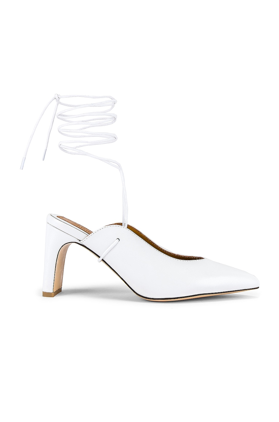 JAGGAR Laced Leather Heel in Ivory