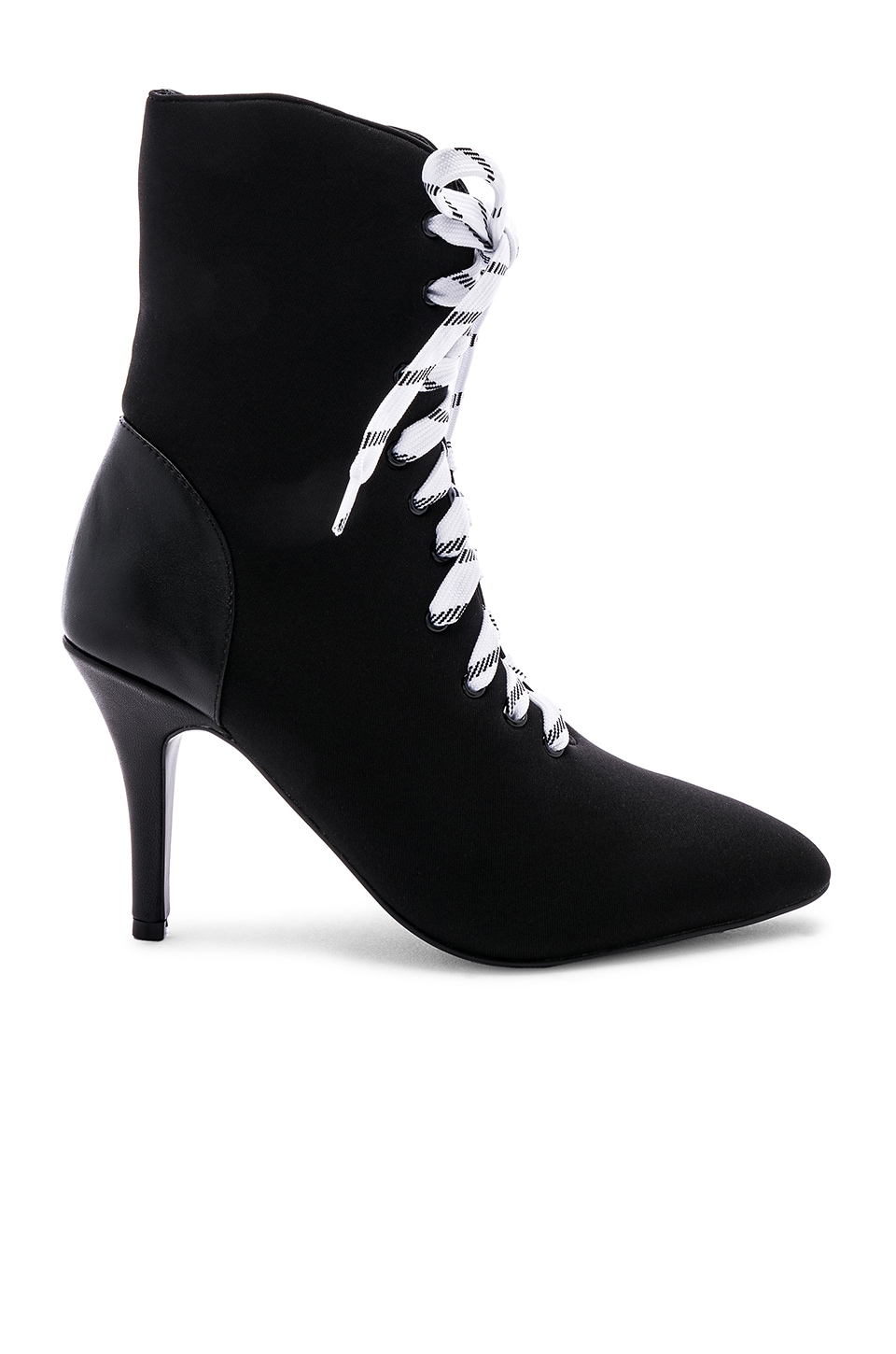 JAGGAR Fasten Lace Up Boot in Black