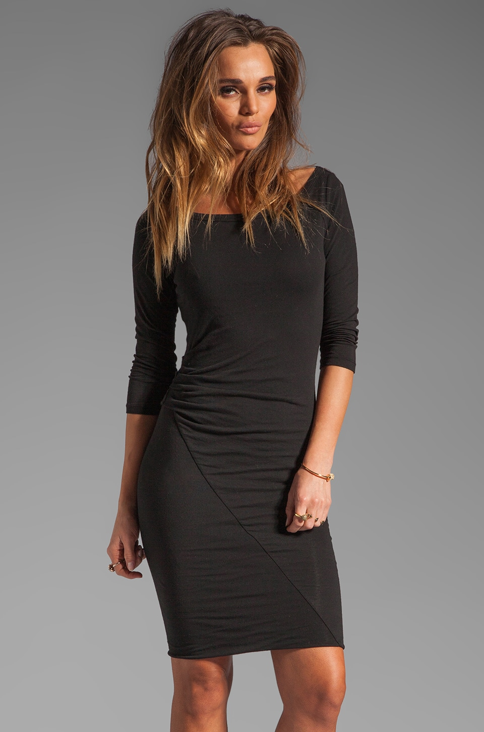 James Perse Asymmetrical Boat Neck Dress in Black