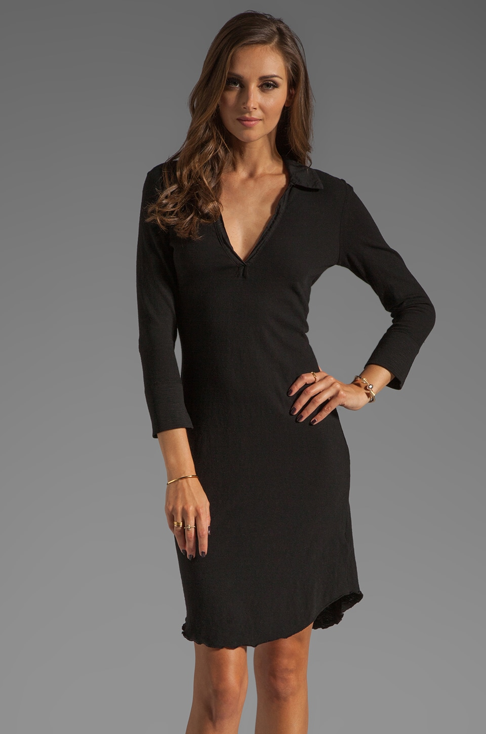 James Perse 3/4 Sleeve Polo Dress in Black