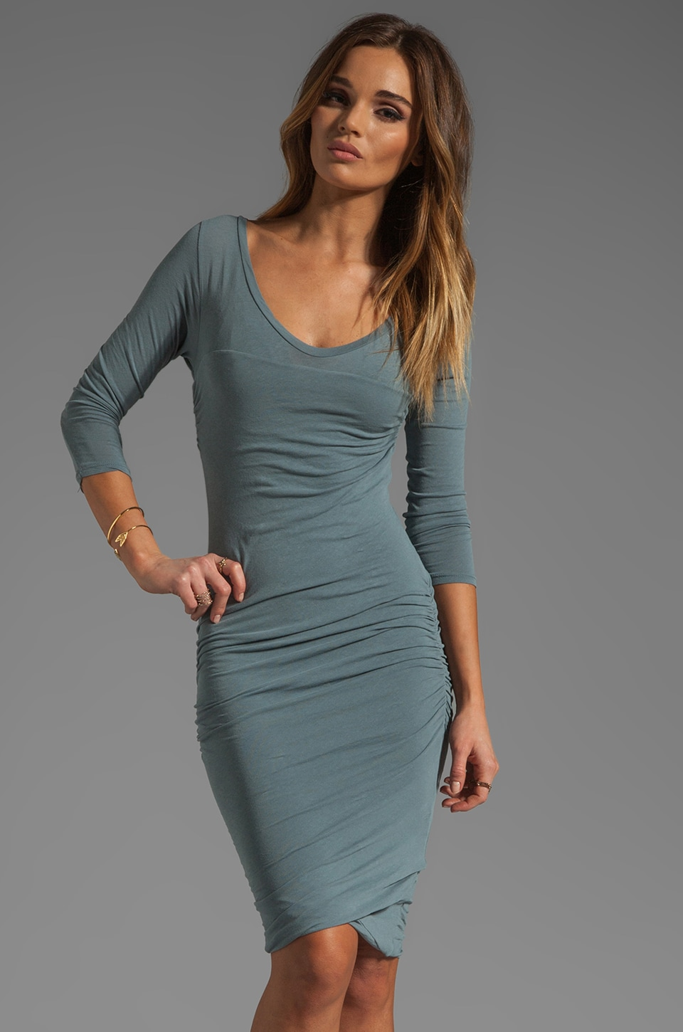 James Perse Soft Multi Layer Dress in Tempest
