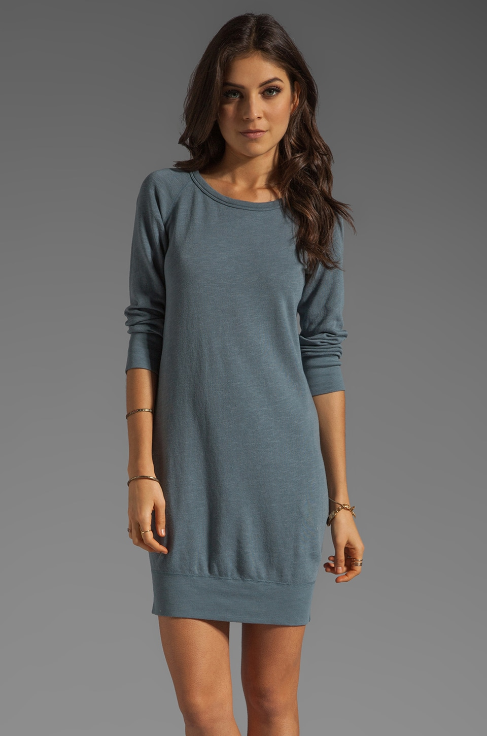 James Perse Raglan Sweatshirt Dress in Tempest