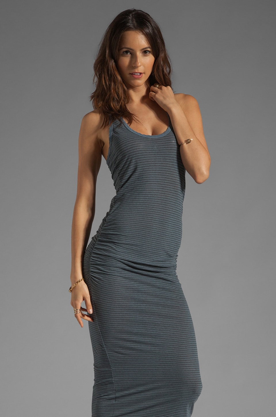 James Perse Stripe Tank Dress in Heather Grey/Tempest