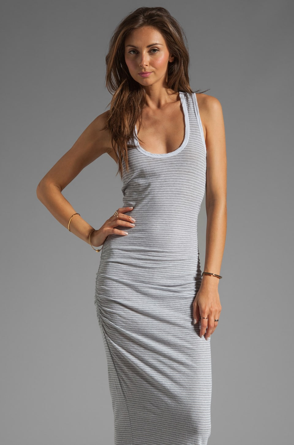 James Perse Stripe Tank Dress in Heather Grey/White