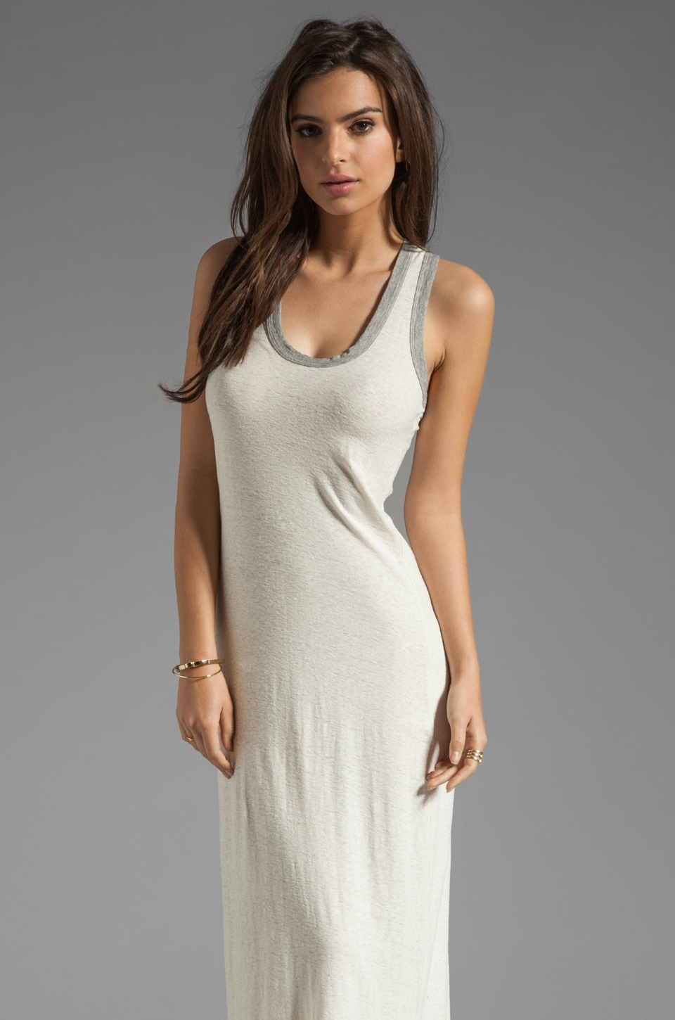 James Perse Contrast Maxi Dress in Stone