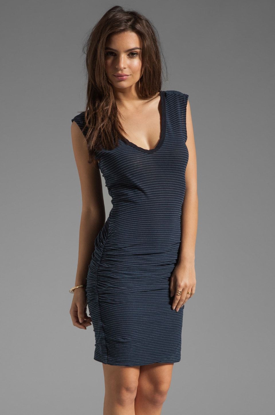 James Perse Stripe Double V Dress in Navy/Deep