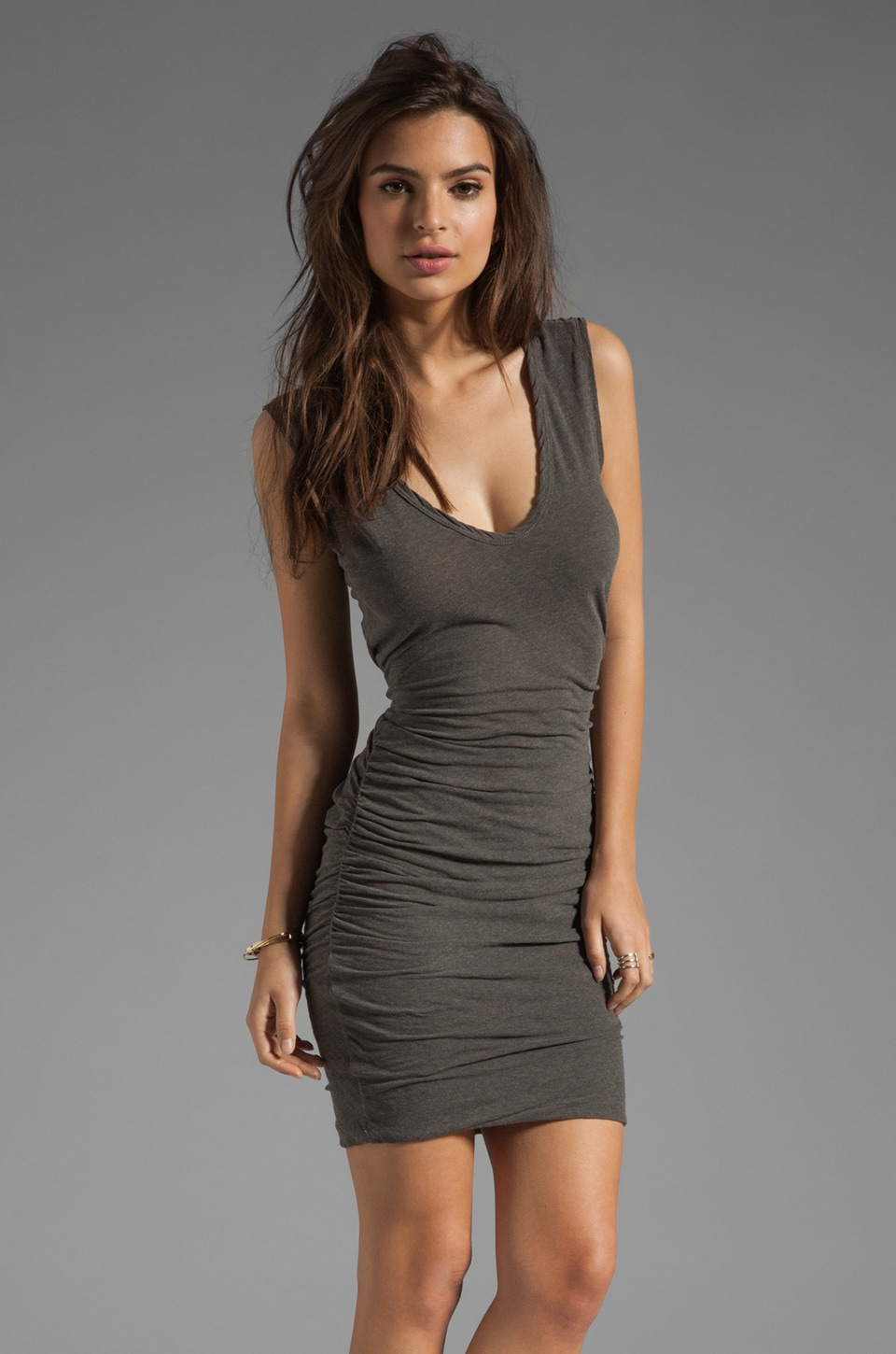 James Perse Double V Dress in Burro