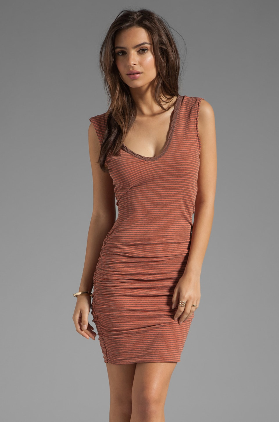 James Perse Stripe Double V Dress in Heather Grey/Orangeade