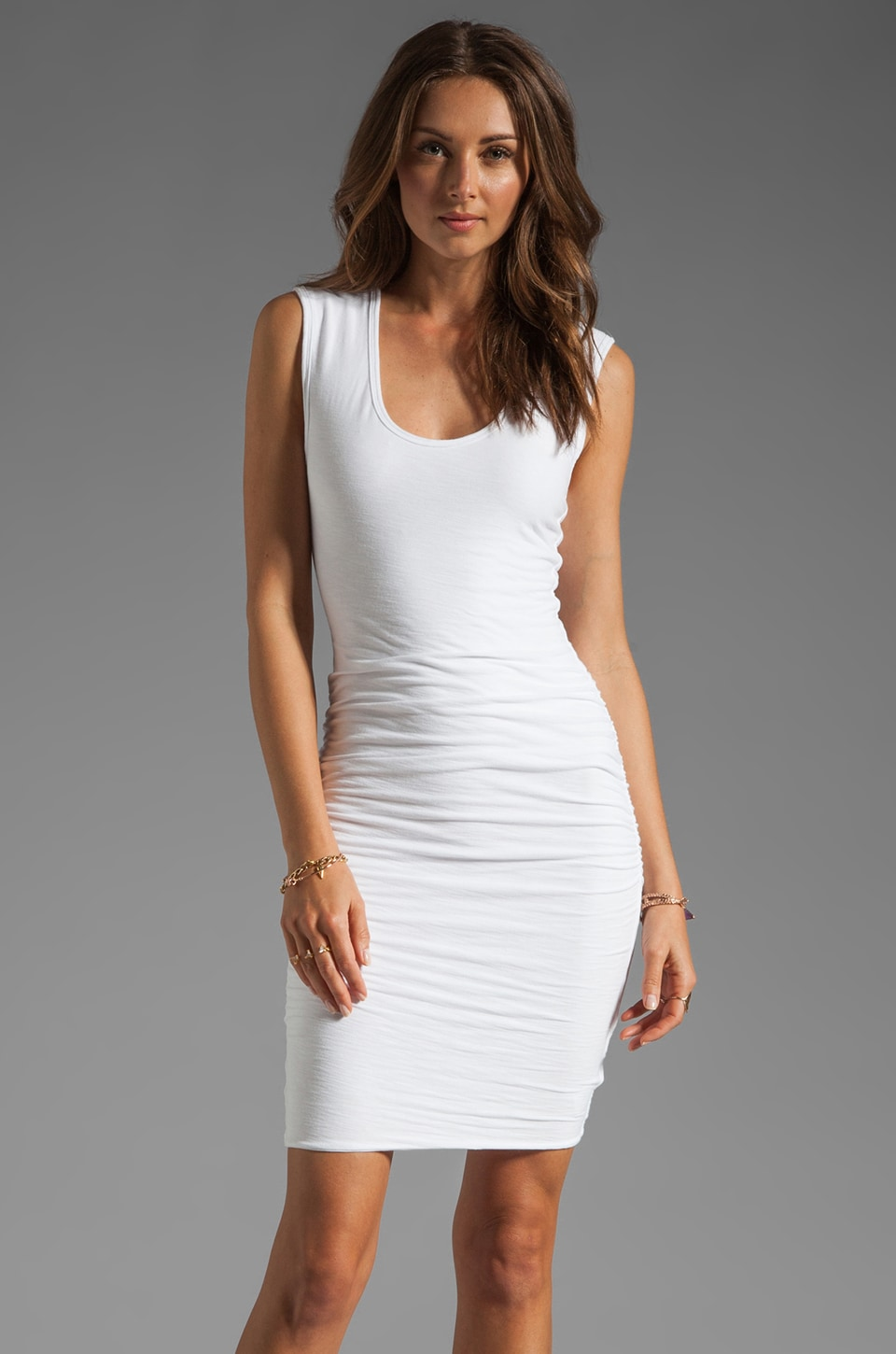 James Perse Wide Strap Ruched Dress in White  REVOLVE