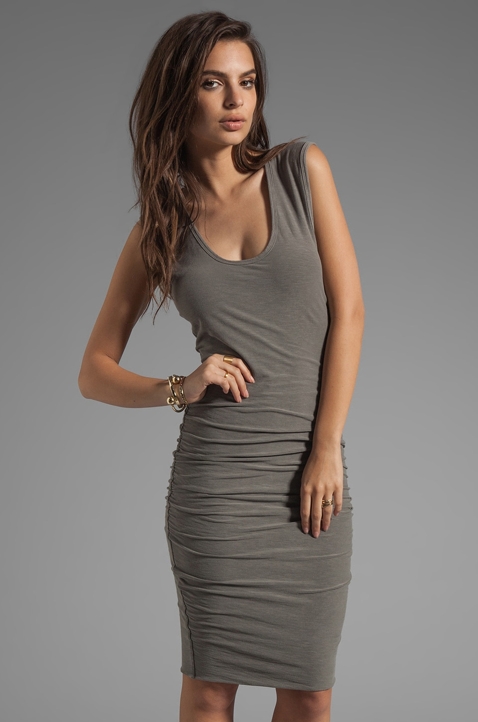 James Perse Wide Strap Ruched Dress in Burro