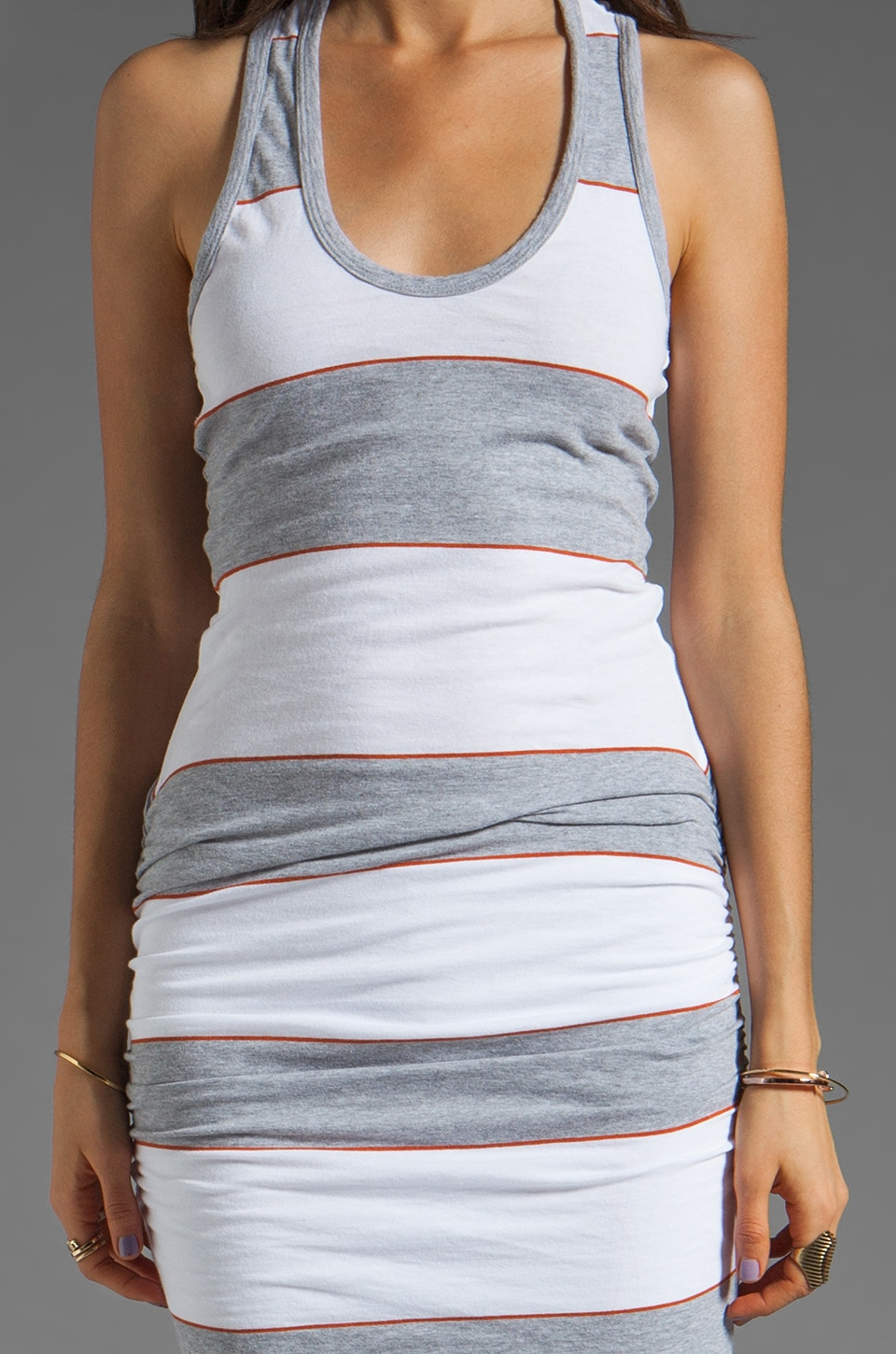 James Perse Coastal Stripe Tank Dress in Heather Grey/White