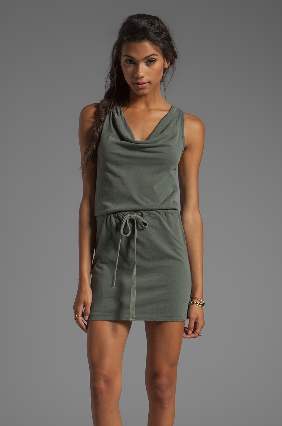James Perse Sanded Jersey Racerback Dress in Alligator