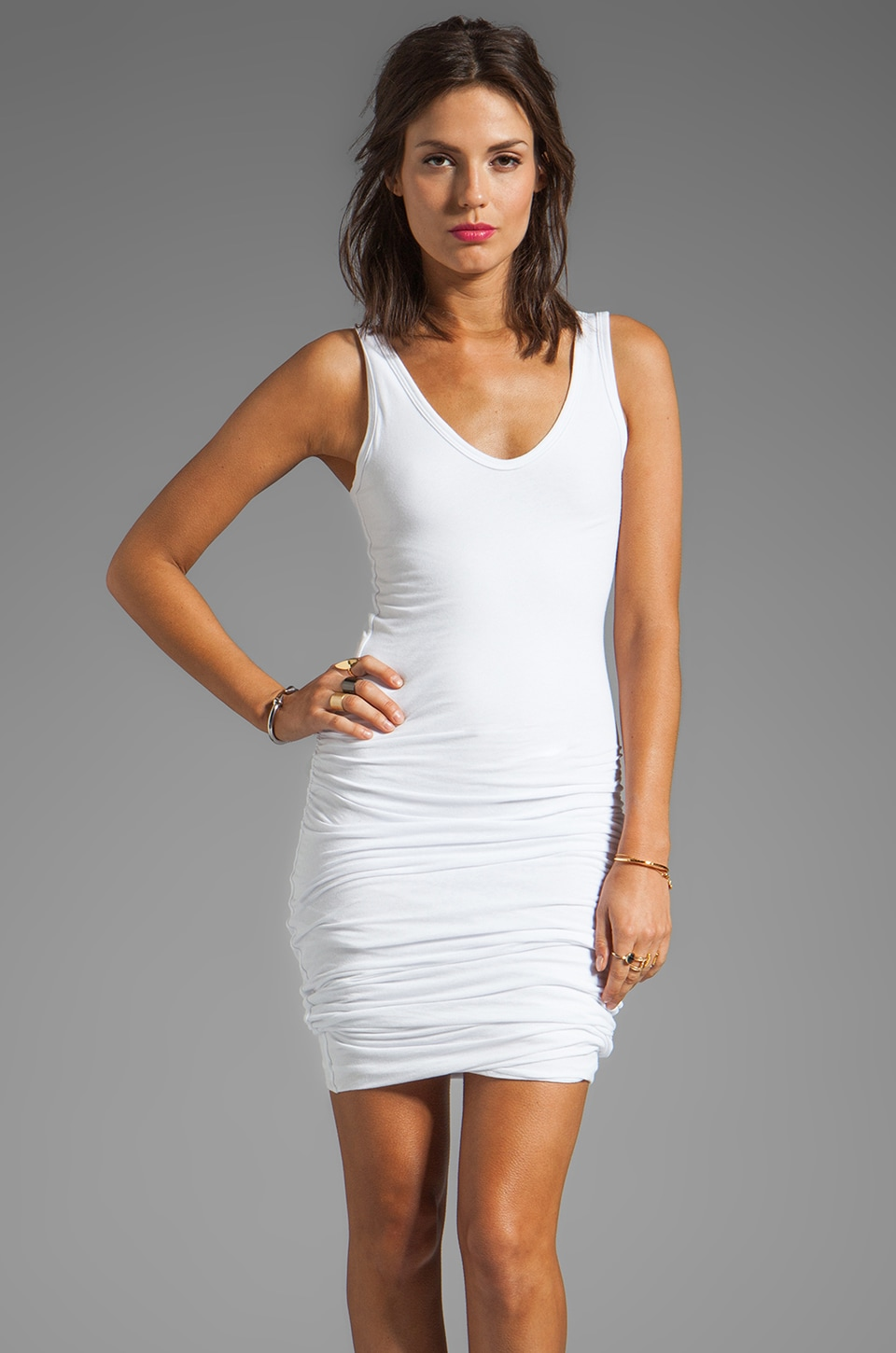 James Perse Rouched Tank Dress in White