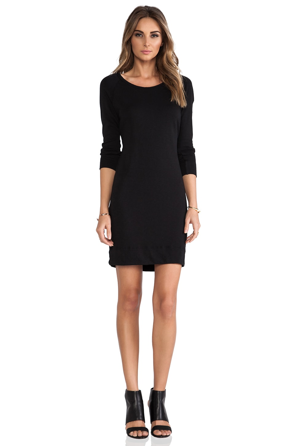 James Perse Raglan Sweatshirt Dress in Black