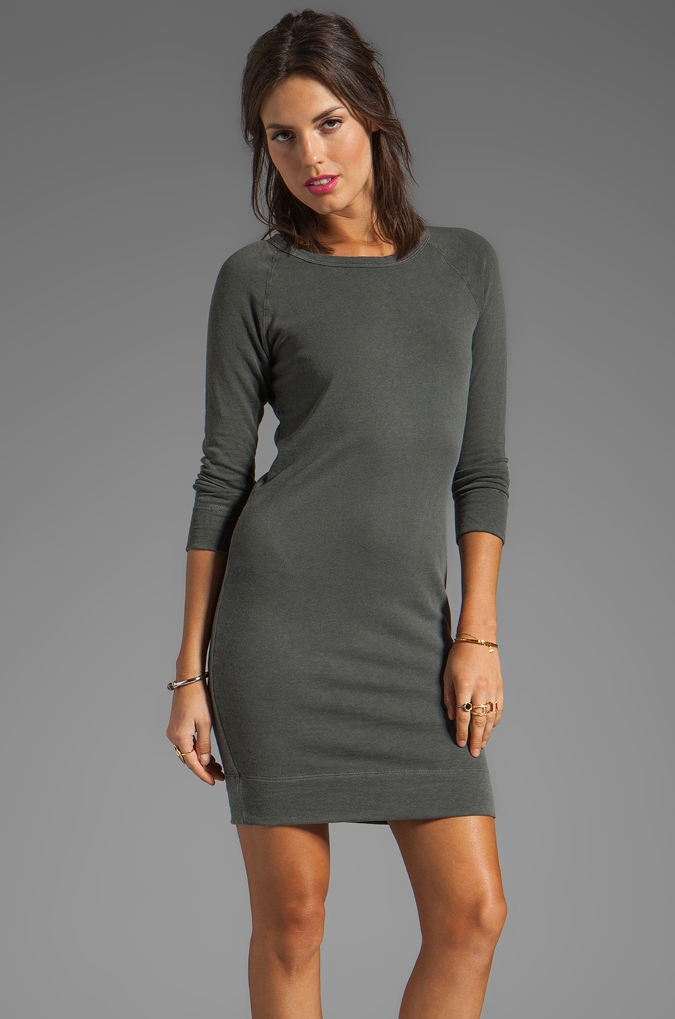 James Perse Raglan Sweatshirt Dress in Charcoal