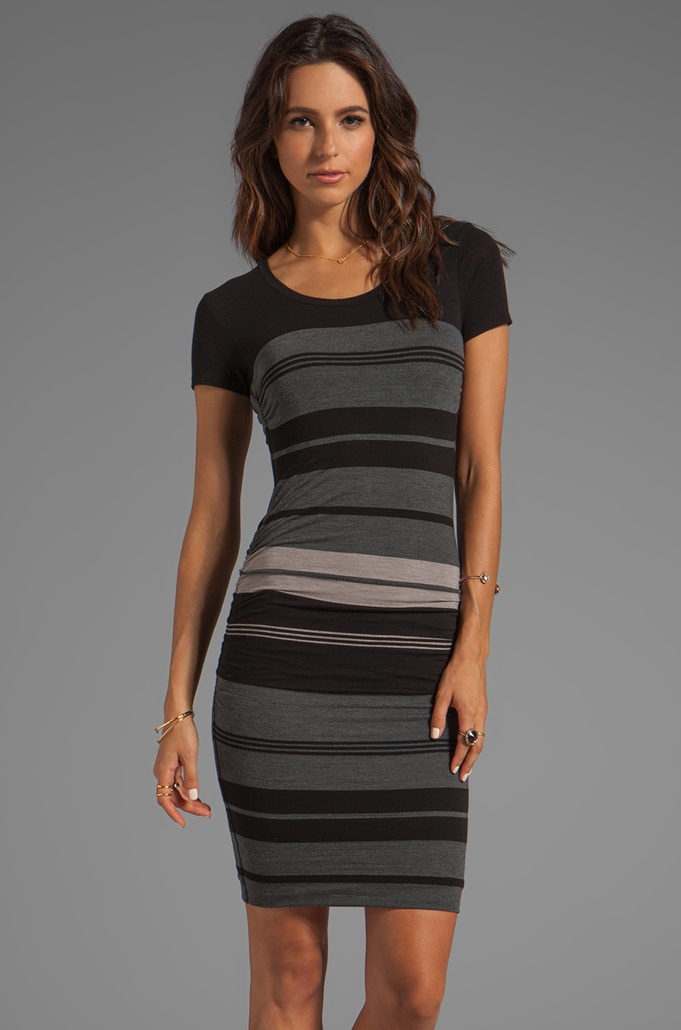 James Perse Multi Layer Stripe Dress in Charcoal/Black