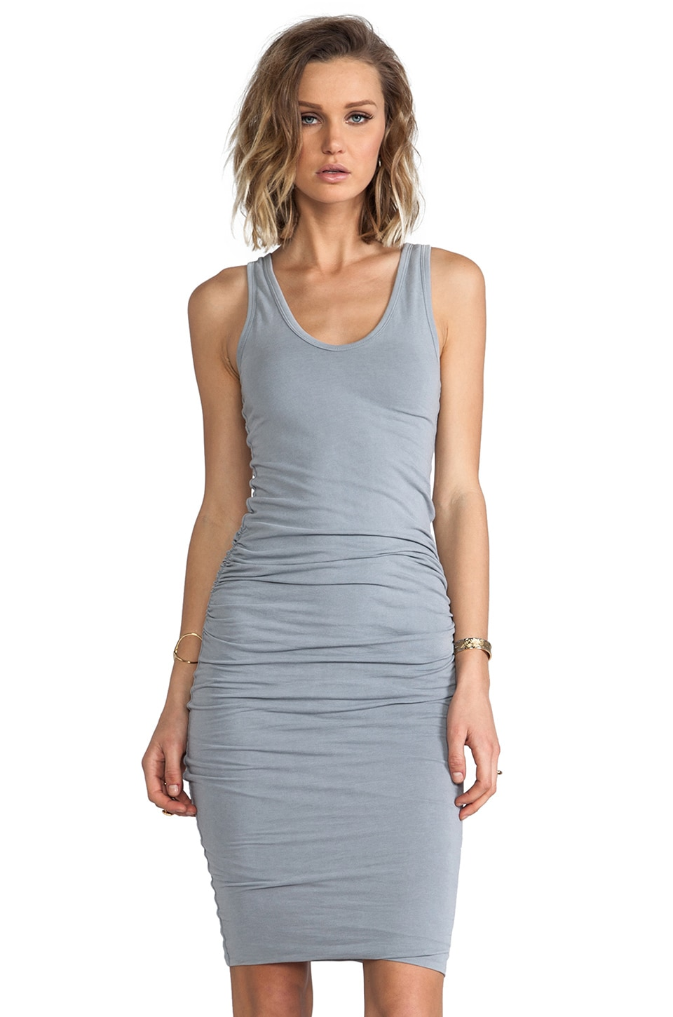 James Perse Rouched Tank Dress in Ore