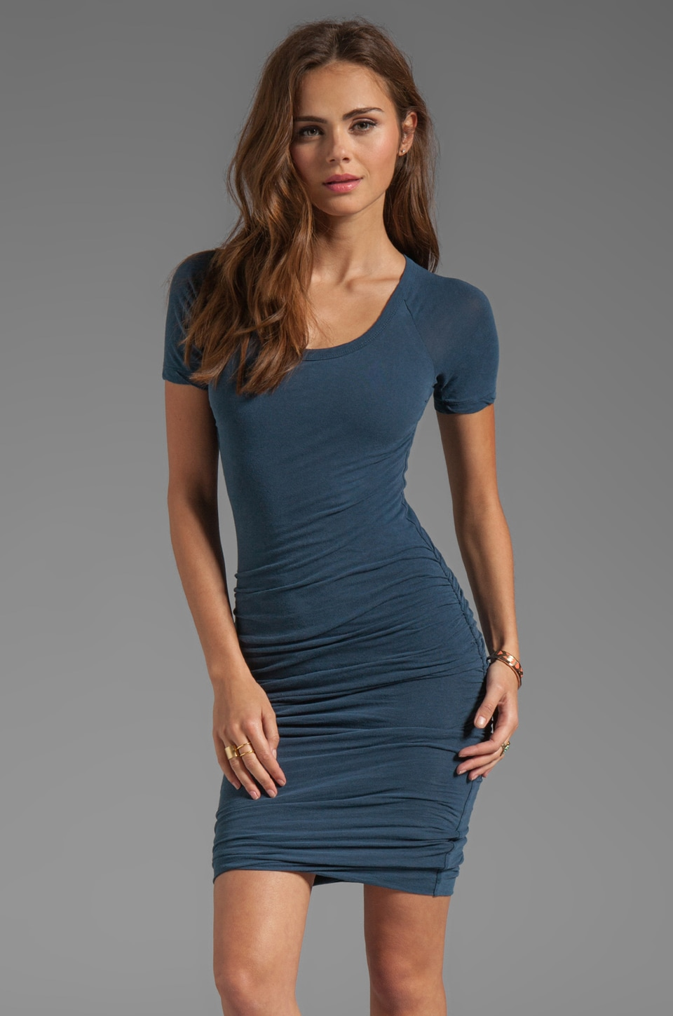James Perse Rouched Raglan Dress in Neptune