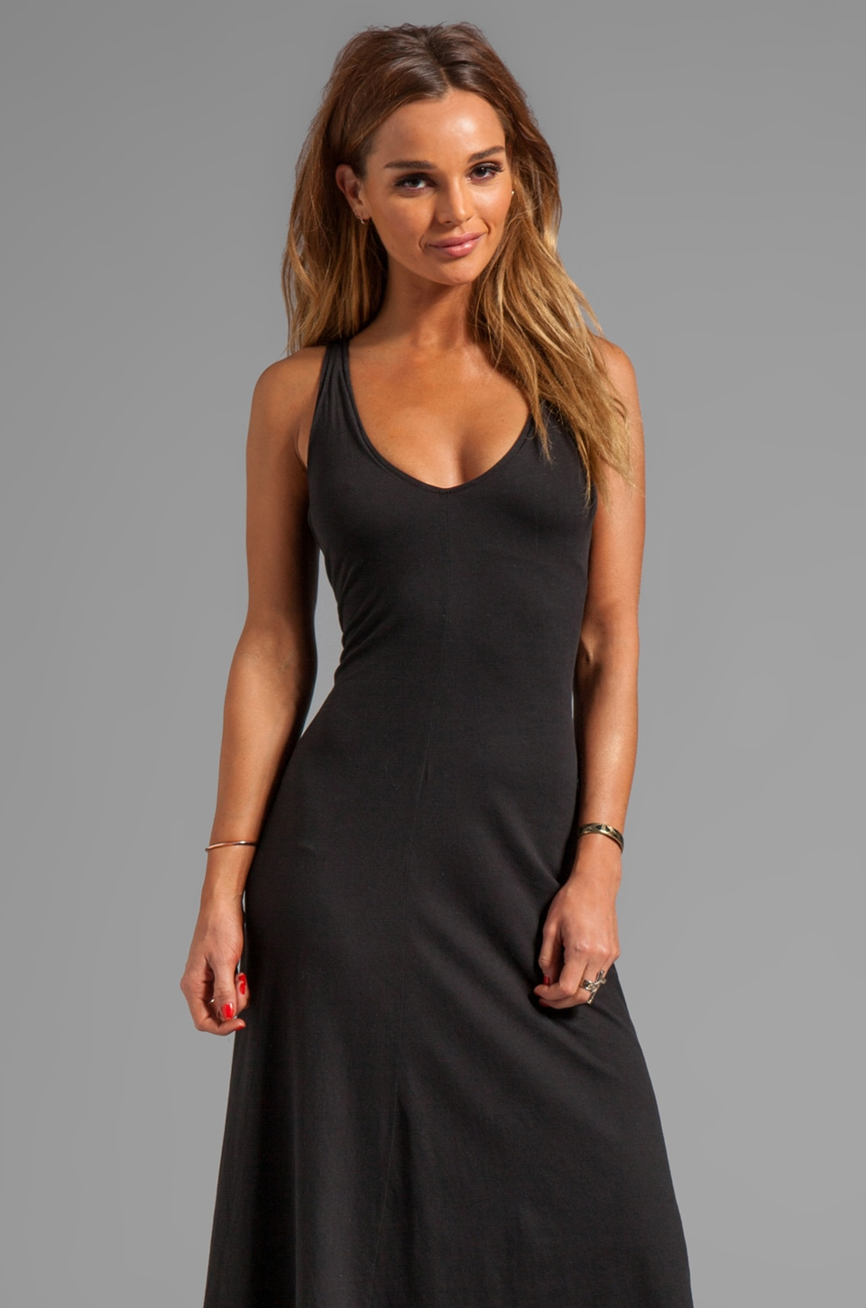 James Perse Jersey Deep V Dress in Black