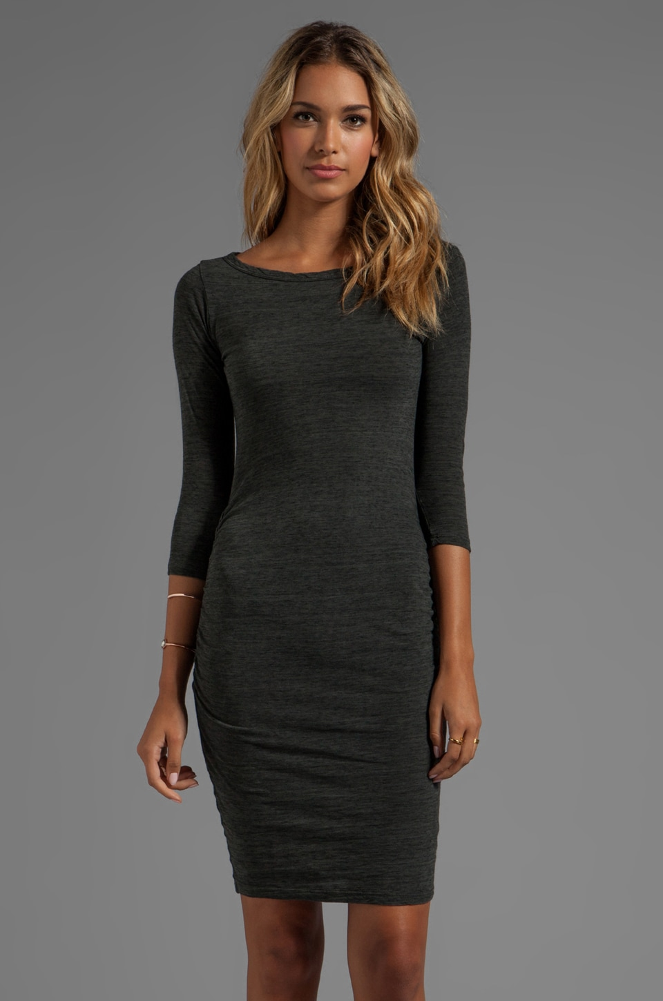 James Perse Jewel Neck Dress in Charcoal