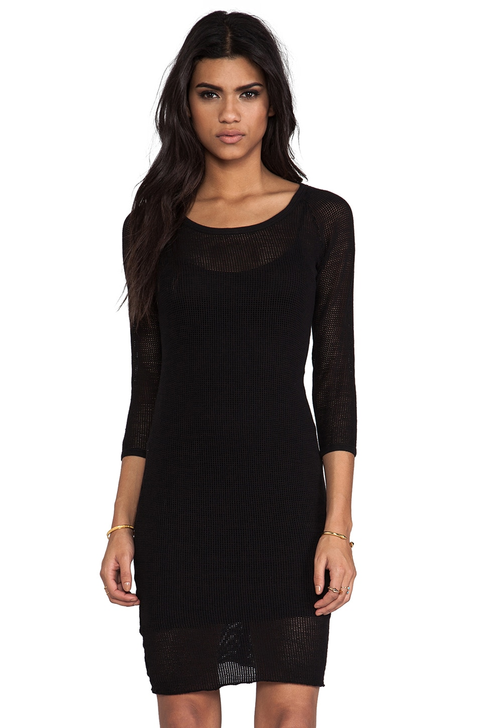 James Perse Raglan Mesh Dress in Black
