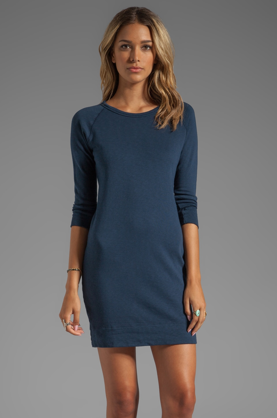 James Perse Raglan Sweatshirt Dress in Imperial