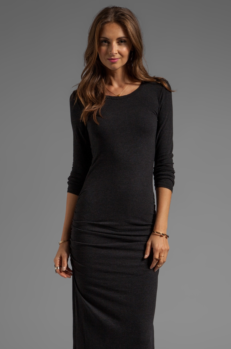 James Perse L/S Split Dress in Black Melange