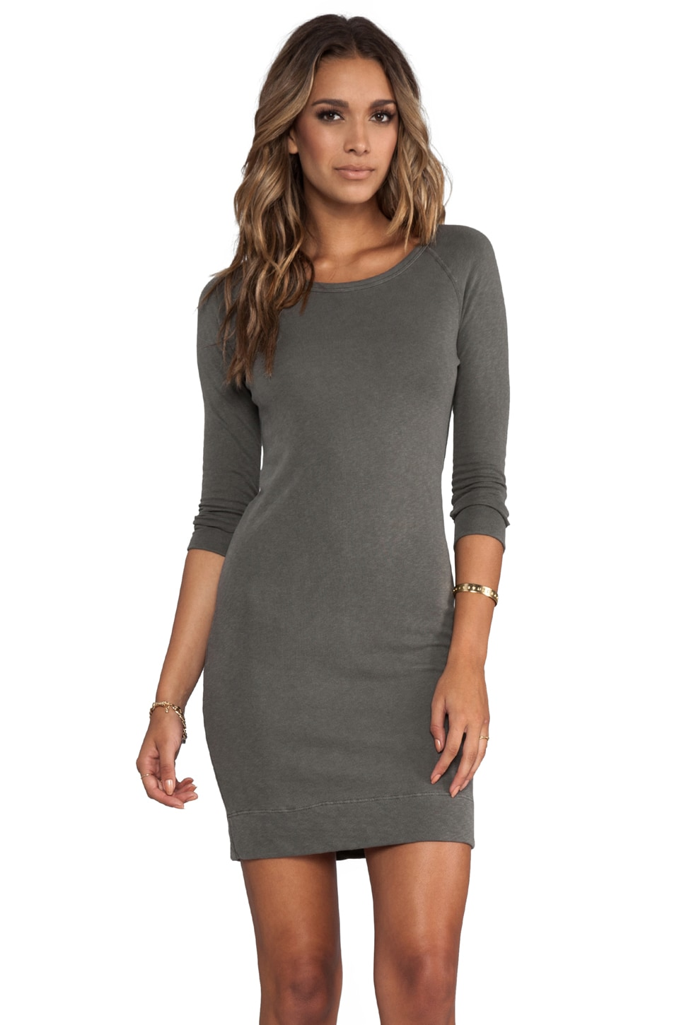 James Perse Raglan Sweatshirt Dress in Spruce