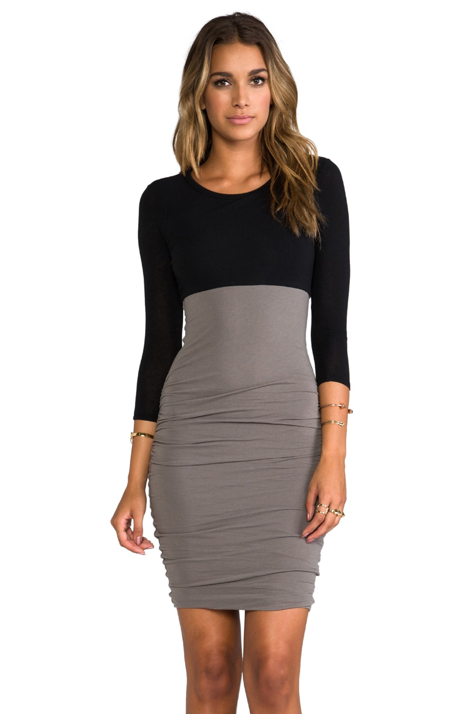 James Perse Colorblocked Skinny Dress in Black/Spruce