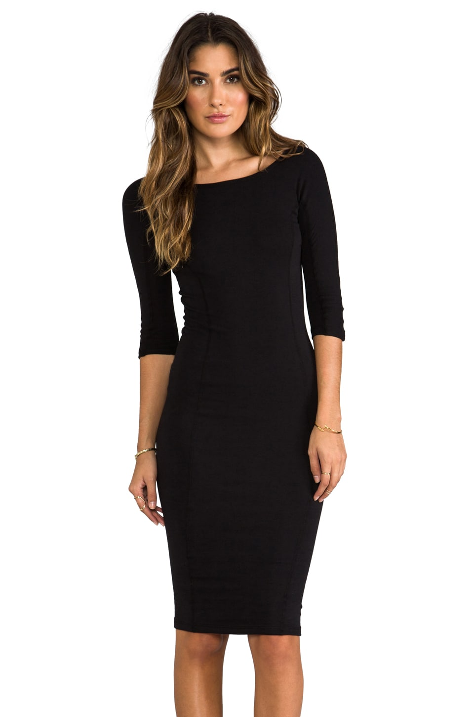 James Perse Side Panel Skinny Dress in Black