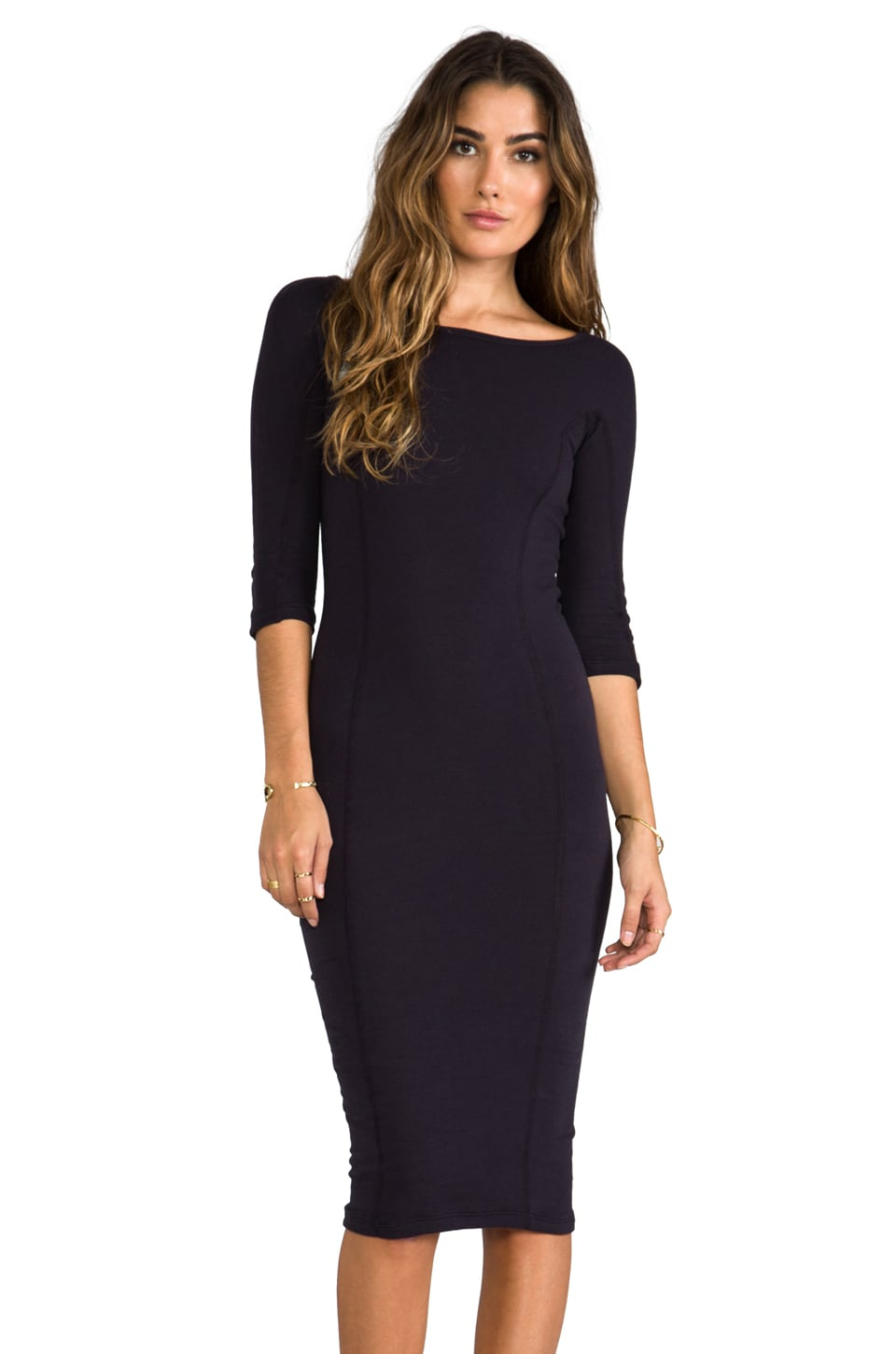 James Perse Side Panel Skinny Dress in Midnight
