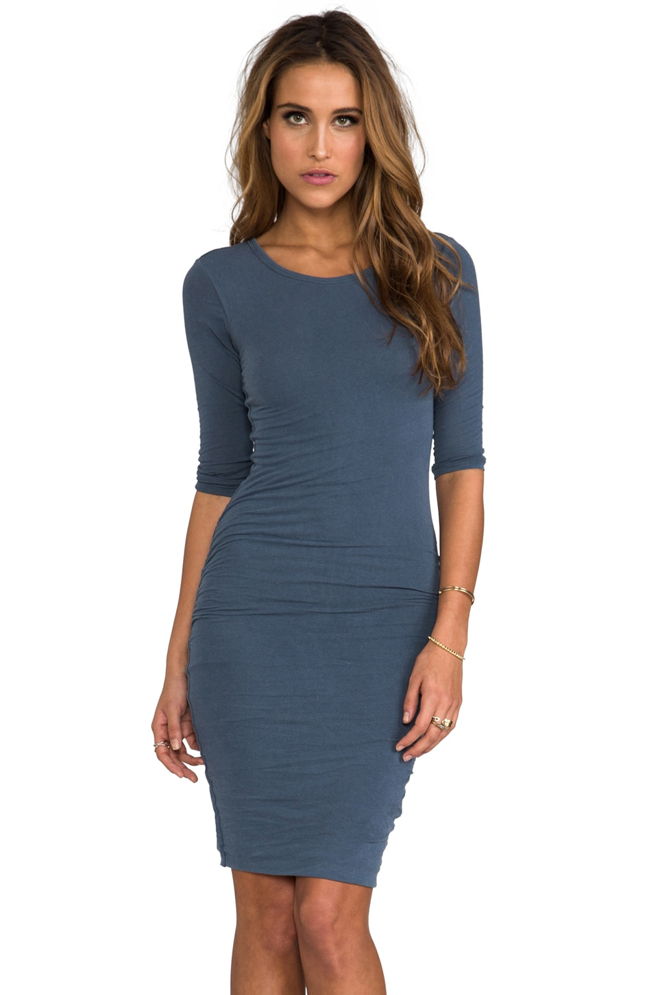 James Perse Jewel Neck Skinny Dress in Marine