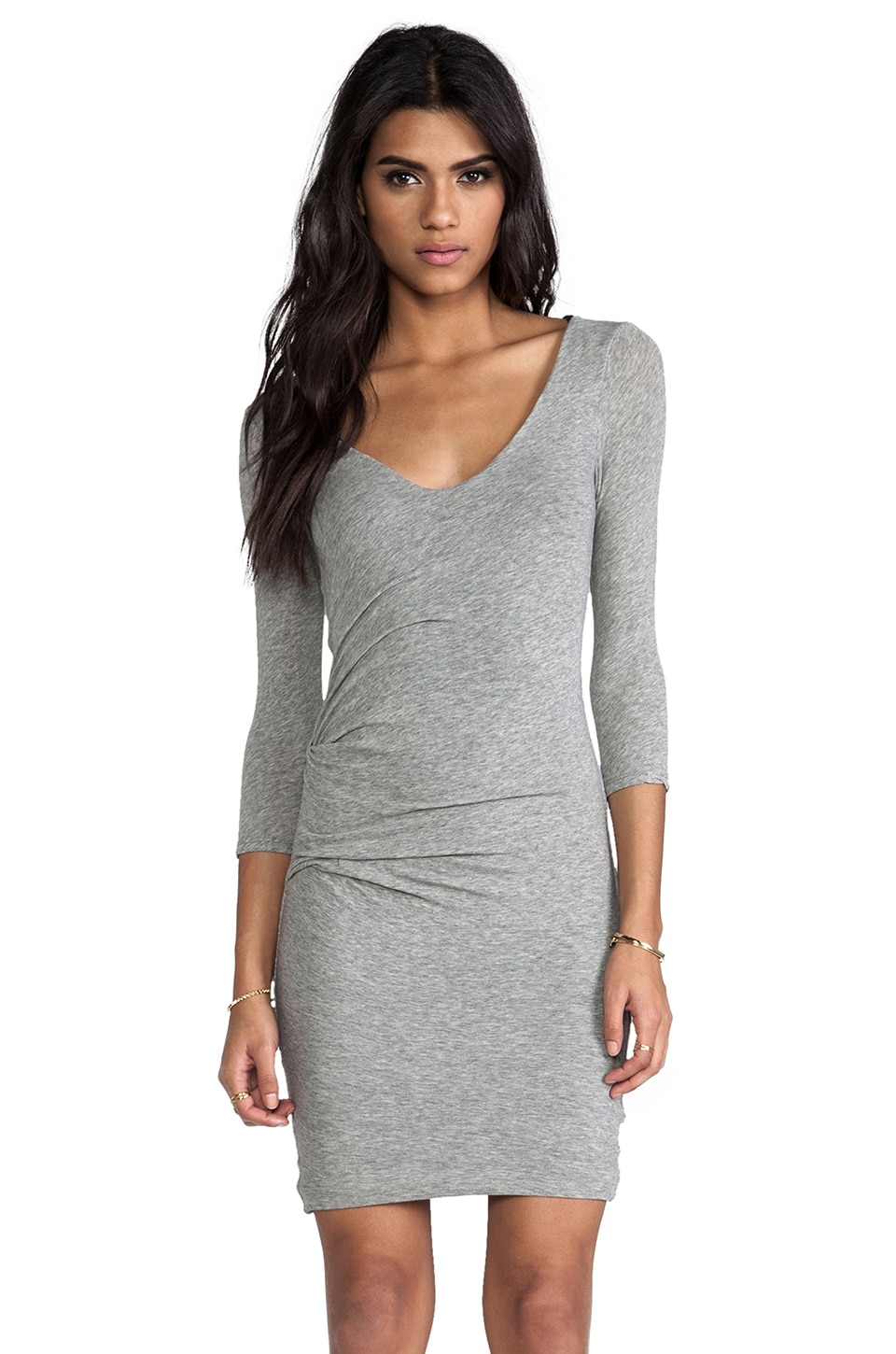 James Perse V Neck Tuck Dress in Heather Grey & Charcoal