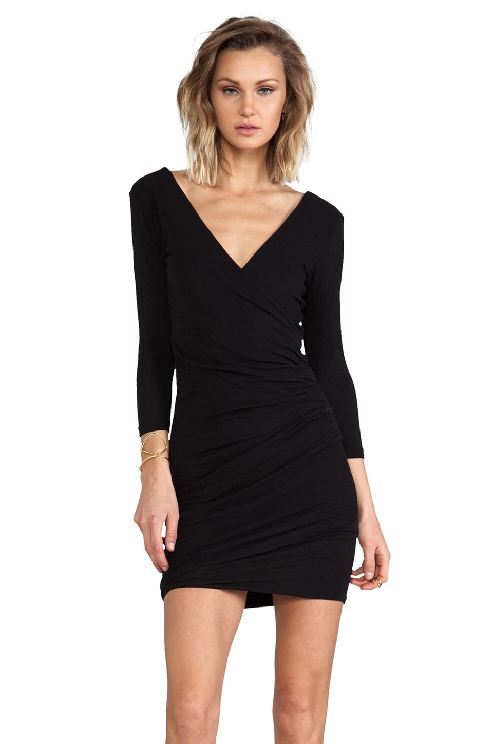 James Perse Skinny Wrap Tuck Dress in Black