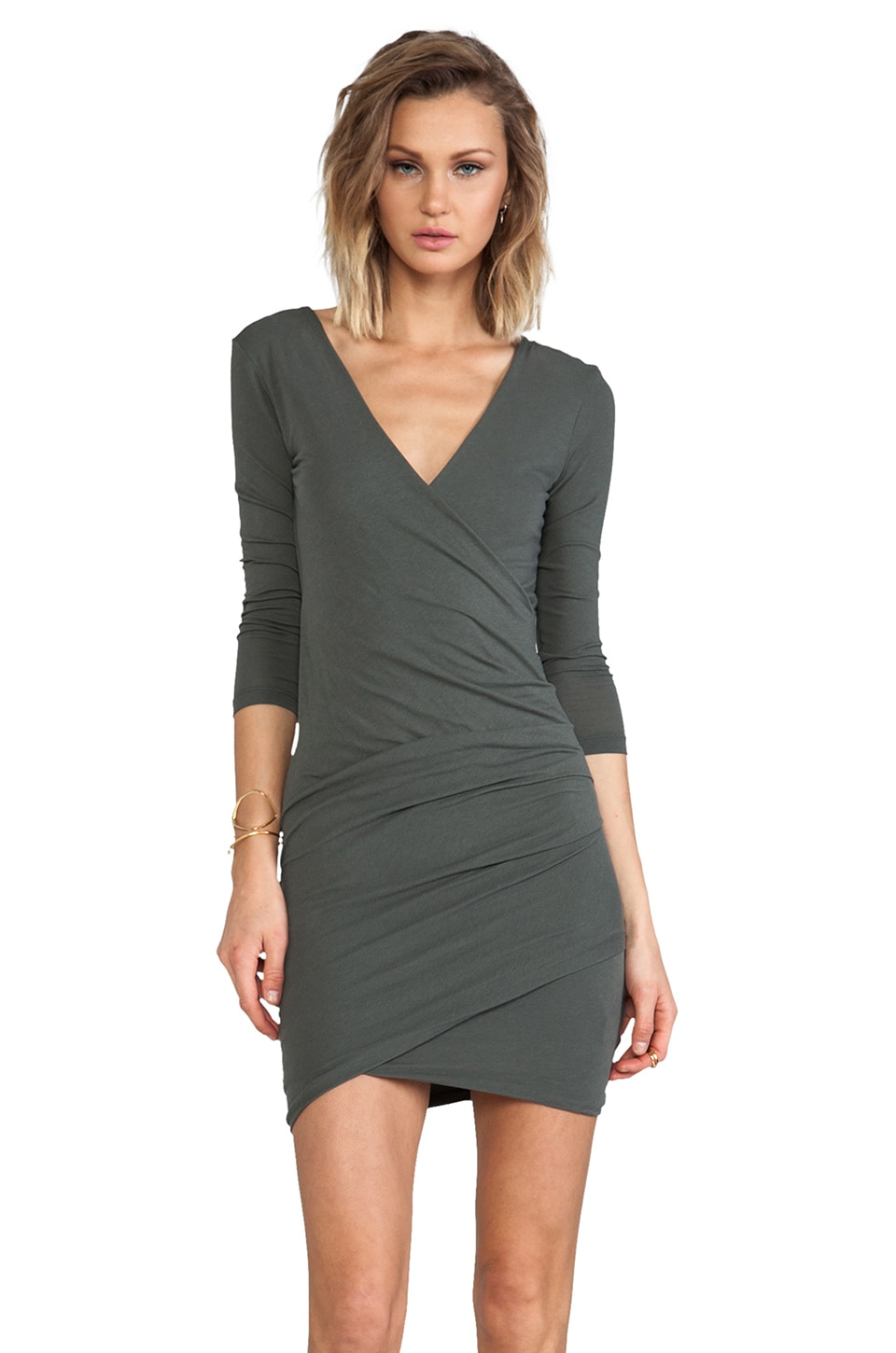 James Perse Skinny Wrap Tuck Dress in Forest Green