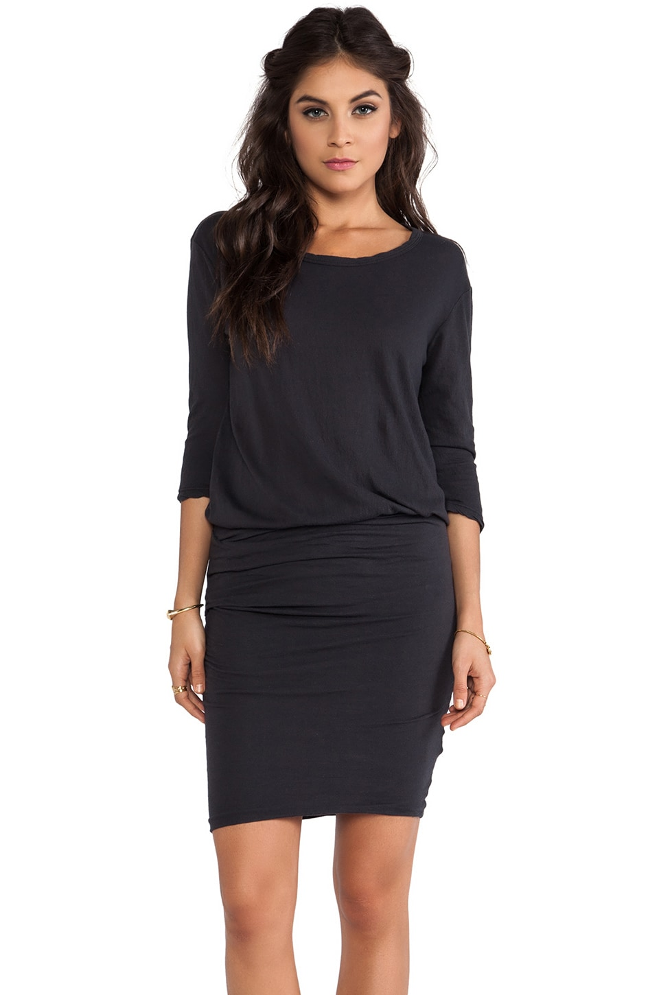 James Perse Crepe Jersey Dress in Carbon
