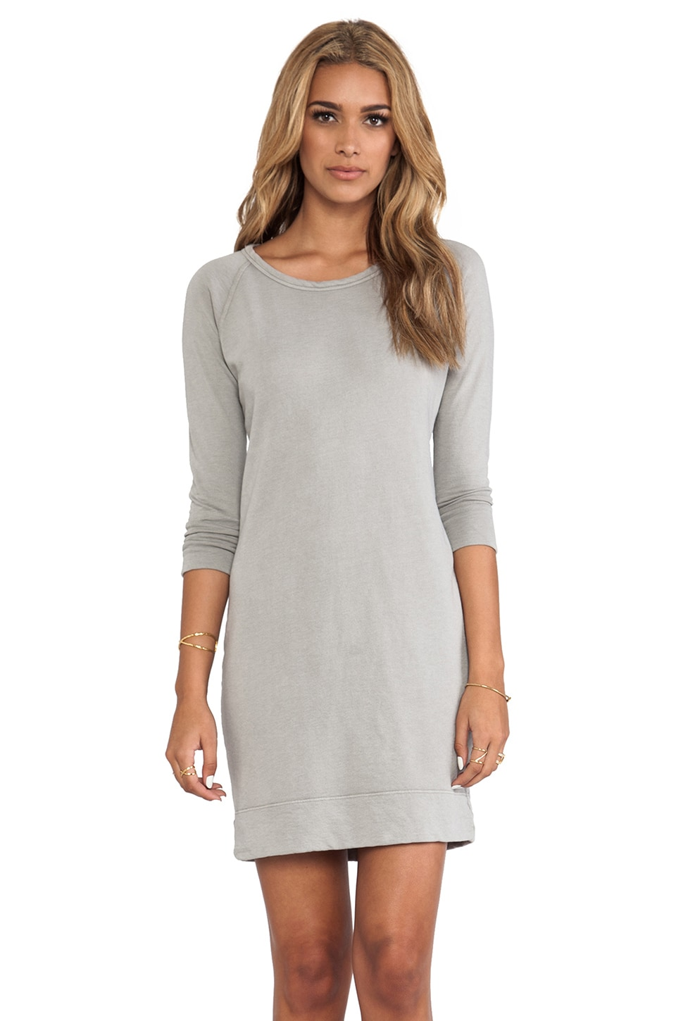 James Perse Raglan Sweatshirt Dress in Shadow
