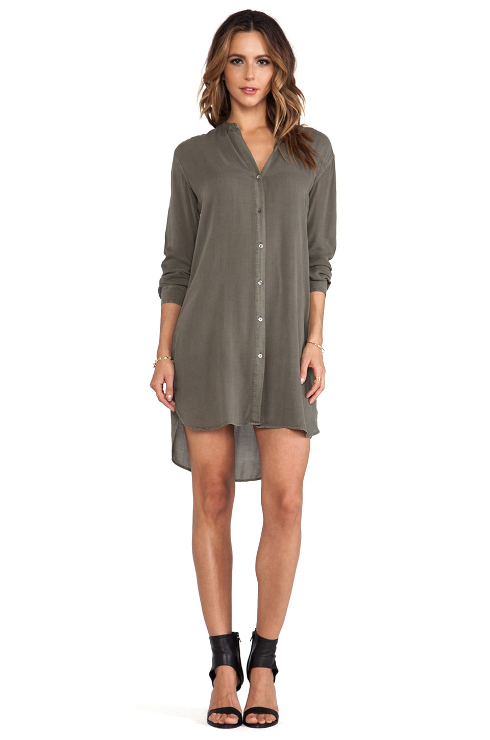 James Perse Collarless Shirt Dress in Safari