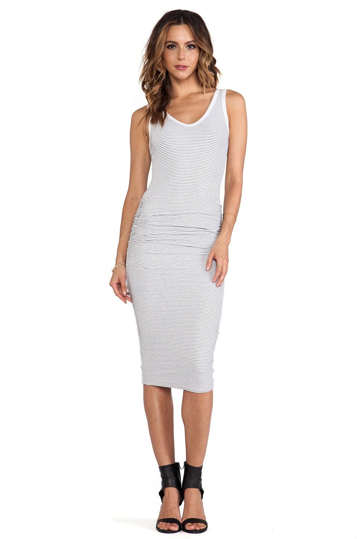 James Perse Skinny Stripe Tank Dress in White