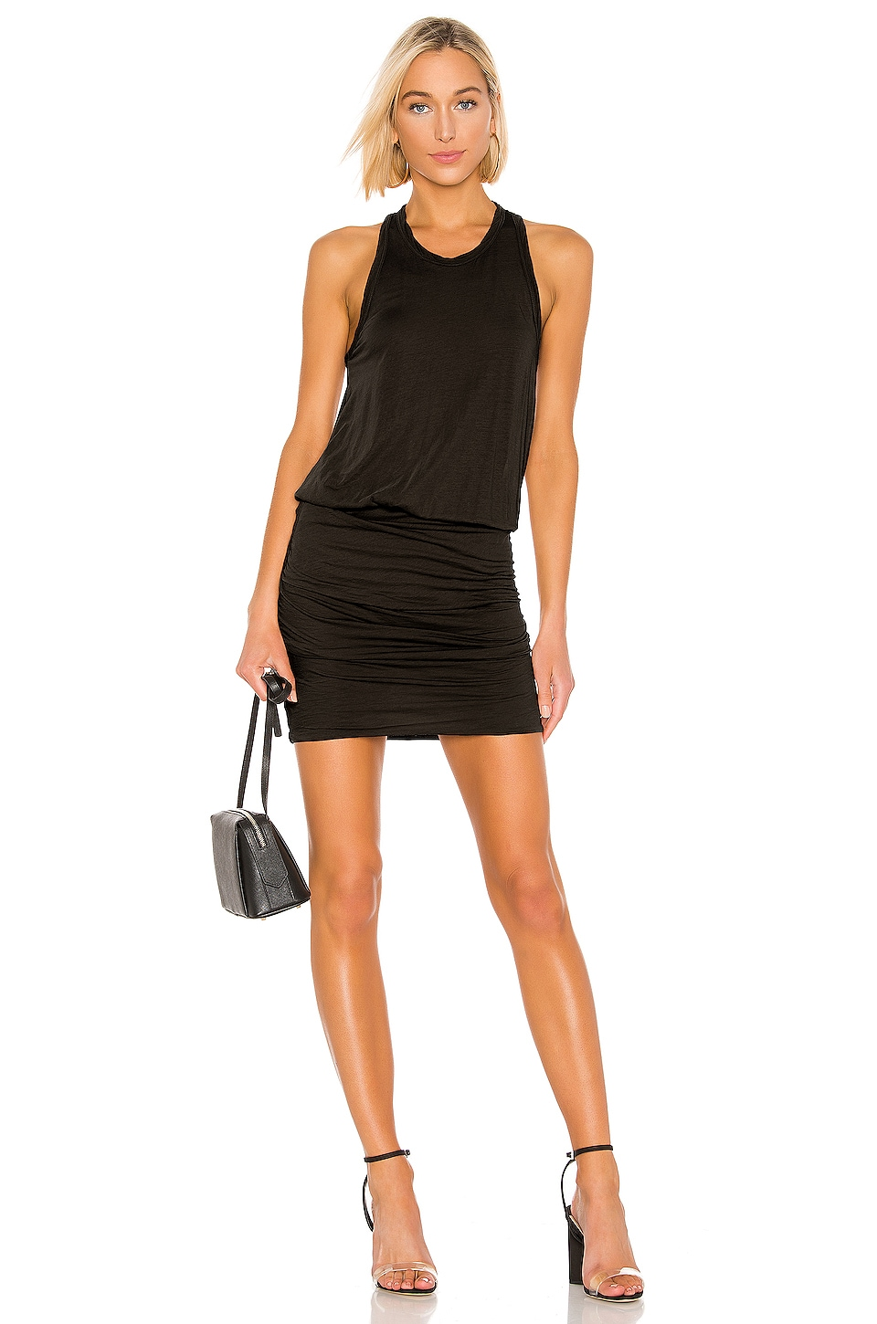 James Perse Racerback Blouson Dress in Carbon