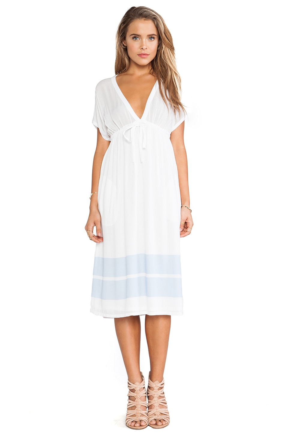James Perse Empire Dress in White/Open Sky