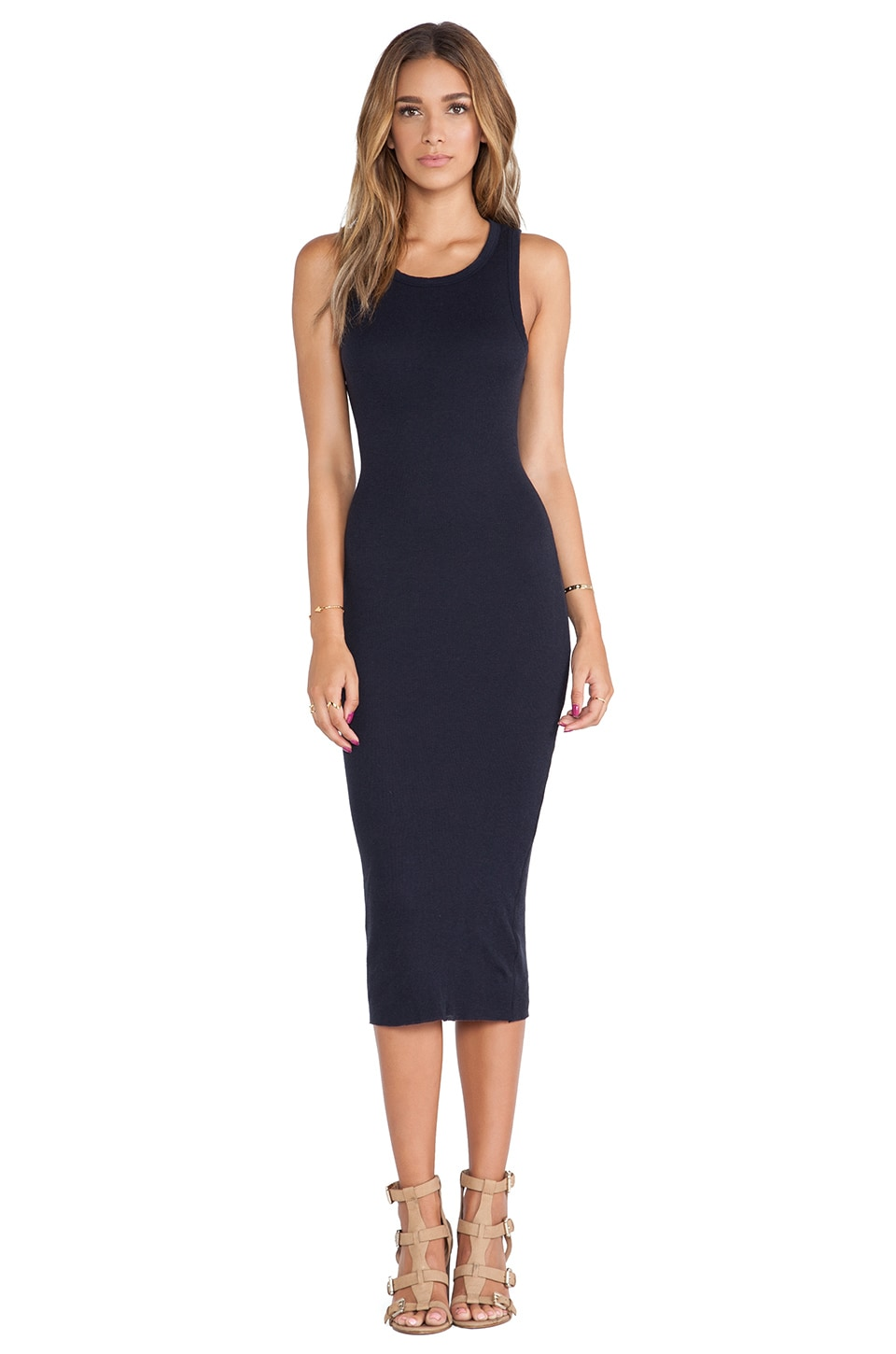 James Perse Cashmere Rib Tank Dress in Deep